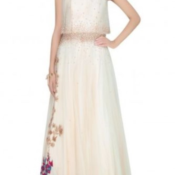 Pernias Pop Up Monika Nidhi Dresses Vanilla Color Embroidered